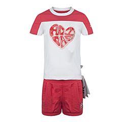 adidas阿迪达斯2017新款女小童LG SS TEE SET短袖套服BS3286