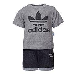 adidas阿迪三叶草2017新款男婴童I TRF FT SET短袖套服BK5748