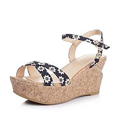 BASTO/百思图夏季专柜同款兰白色印花布女凉鞋TBZ05BL4
