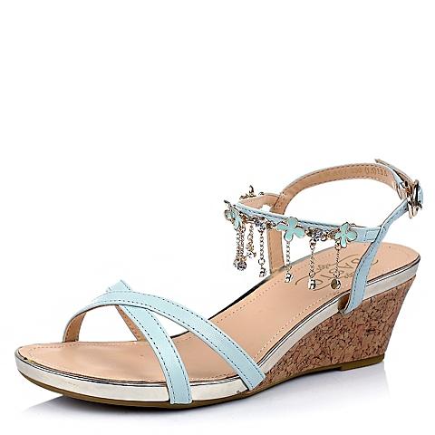 BASTO/百思图夏季专柜同款 女士浅兰油蜡羊皮女皮凉鞋TWA07BL4