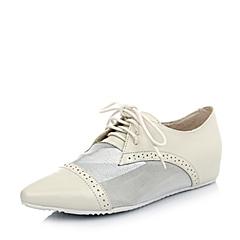 BASTO/百思图米色羊皮/白网布10-5HAM5女皮鞋春季
