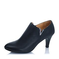 BASTO/百思图秋季专柜同款黑色小牛皮女单鞋TTN52CM5