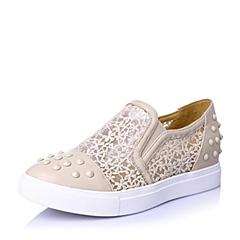BASTO/百思图春季专柜同款时尚休闲潮流舒适羊皮革女单鞋TKV22AM5