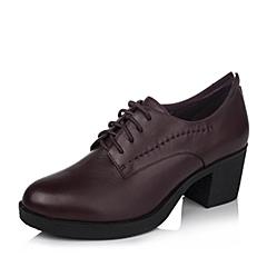 BASTO/百思图秋季专柜同款深酒红牛皮女单鞋15D97CM5