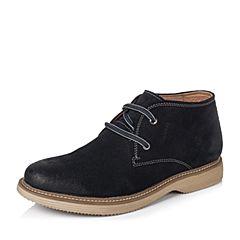 BASTO/百思图冬季专柜同款海蓝色二层牛皮休闲低帮男靴AIF07DD5