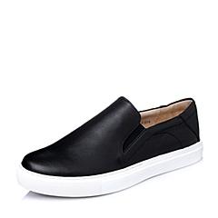 BASTO/百思图2016春季黑色绵羊皮革女单鞋TW322AM6