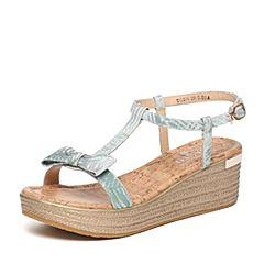 BASTO/百思图夏季专柜同款绿色布时尚简约坡跟女凉鞋TG206BL6