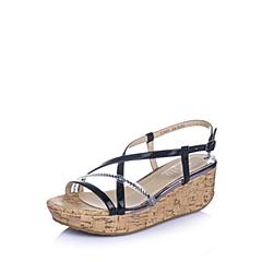 BASTO/百思图夏季专柜同款黑/白色漆皮牛皮革女凉鞋TF609BL6