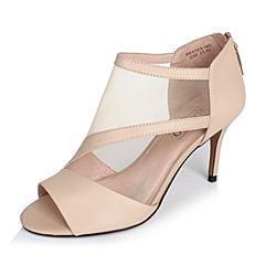 BASTO/百思图春季专柜同款杏色羊皮/网布拼接优雅细高跟女凉鞋16A14AU6