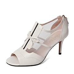 BASTO/百思图春季专柜同款白色羊皮/网布拼接优雅细高跟蝴蝶结女凉鞋16A15AU6