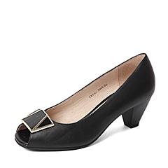 BASTO/百思图春季专柜同款黑色牛皮简约通勤鱼嘴粗跟浅口女凉鞋TRE03AU6
