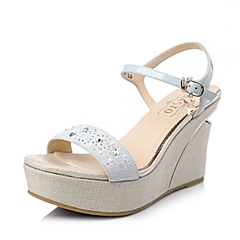 BASTO/百思图2016夏季兰色羊绒皮坡跟一字扣带女凉鞋TG503BL6