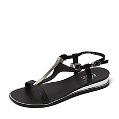 BASTO/百思图夏季专柜同款黑色牛皮时尚休闲女凉鞋16B35BL6