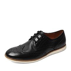 BASTO/百思图春季专柜同款黑色软面牛皮时尚镂花系带男单鞋AWP03AM6