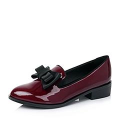 BASTO/百思图秋季专柜同款酒红/黑色漆皮牛皮浅口女单鞋TS725CQ6