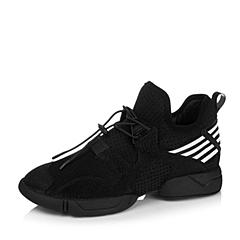 BASTO/百思图2016秋季专柜同款黑/白TPU/弹力布/织带女单鞋16C65CM6