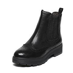 BASTO/百思图冬季专柜同款黑色牛皮布洛克镂花复古女靴TWX40DD6