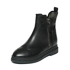 BASTO/百思图冬季专柜同款黑色牛皮女短靴皮靴TYQ41DD6