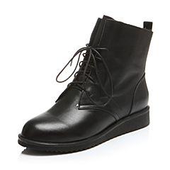 BASTO/百思图冬季专柜同款黑色牛皮系带休闲纯色女靴短靴16D34DD6