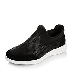 BASTO/百思图秋季黑色花纹/剖层牛皮时尚休闲男单鞋BEQ03CM6