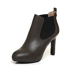 BASTO/百思图冬季专柜同款灰色羊皮/橡筋细高跟女皮靴16D30DD6