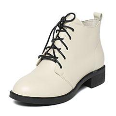 BASTO/百思图冬季专柜同款米色牛皮简约帅气方跟女皮短靴16D73DD6
