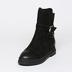 BASTO/百思图冬季专柜同款浅黑色牛皮休闲方跟女皮靴(绒里)TYQ61DZ6