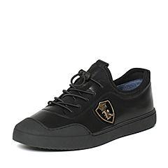 BASTO/百思图秋季黑色舒适透气男休闲鞋BCH22CM6