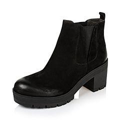 BASTO/百思图2016冬季黑色打蜡牛皮女靴TNT42DD6