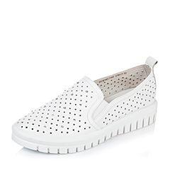 BASTO/百思图2016秋季专柜同款白色牛皮时尚摩登厚底女单鞋16C70CM6