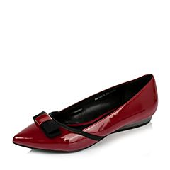 BASTO/百思图2016秋季专柜同款深红/黑牛皮/织带时尚尖头浅口女单鞋16C02CQ6