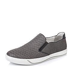 BASTO/百思图春季专柜同款灰色牛皮套脚平跟男休闲鞋AUR45AM6