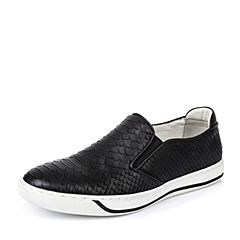 BASTO/百思图春季专柜同款黑色牛皮套脚平跟男休闲鞋AUR45AM6