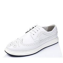 BASTO/百思图春季专柜同款白色牛皮复古布洛克男休闲鞋AYU02AM6
