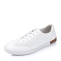 BASTO/百思图2016夏季专柜同款白色牛皮舒适镂空男休闲鞋AYB12BM6