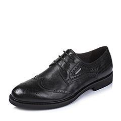 BASTO/百思图夏季专柜同款黑色牛皮英伦男单鞋AYF01BM6
