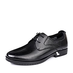 BASTO/百思图秋季专柜同款黑色牛皮舒适方跟商务男单鞋16N08CM6