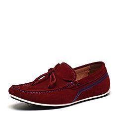 BASTO/百思图春季专柜同款红色剖层牛皮革休闲舒适圆头男皮鞋ABV24AM6