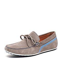BASTO/百思图春季专柜同款深灰色剖层牛皮革休闲舒适圆头男皮鞋ABV24AM6
