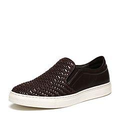 BASTO/百思图春季专柜同款啡色编织牛皮套脚舒适平跟男休闲鞋ARV16AM6