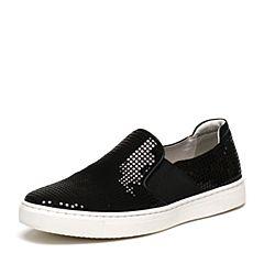 BASTO/百思图春季专柜同款黑色剖层牛皮革吸晴亮片舒适简约男休闲鞋AXK13AM6