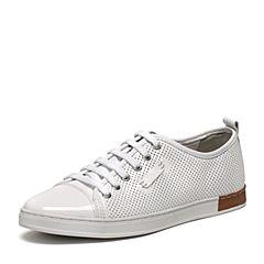 BASTO/百思图夏季专柜同款白色软面牛皮系带舒适镂空圆头男休闲鞋AYB08BM6