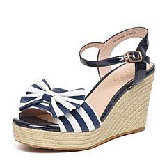 BASTO/百思图夏季蓝/ 白色羊皮/PU时尚条纹坡跟女凉鞋16B40BL6