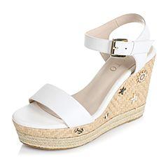 BASTO/百思图夏季专柜同款白色牛皮时尚坡跟女凉鞋TTP04BL6