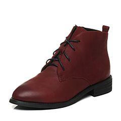 BASTO/百思图秋季专柜同款牛皮休闲系带短筒女皮靴16C73CD6