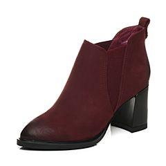 BASTO/百思图秋季专柜同款暗红色磨砂牛皮/织物休闲简约粗跟女短靴16C27CD6