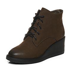 BASTO/百思图冬季专柜同款绿色牛皮简约休闲系带侧拉链坡跟女皮靴16Z10DD6