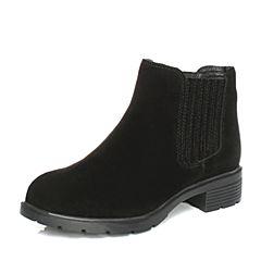 BASTO/百思图秋季专柜同款黑色牛剖层皮革圆头方跟短筒女皮靴16C13CD6