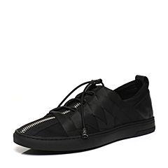 BASTO/百思图2017春季专柜同款黑色布牛皮松紧带男休闲鞋17N01AM7