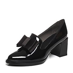 BASTO/百思图2017春季专柜同款黑色牛皮蝴蝶结舒适粗高跟尖头女单鞋TXD25AQ7